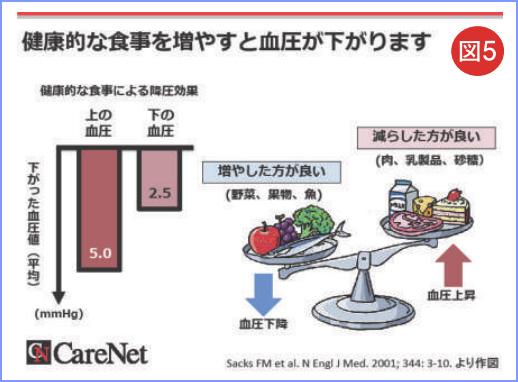 図5 健康的な食事を増やすと血圧が下がります